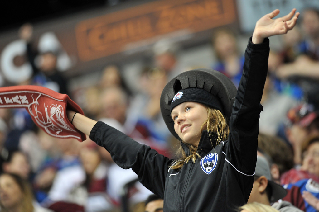 . DENVER, CO. - APRIL 13 : A Colorado Avalanche fan cheer the team in the 3rd period of the game against Vancouver Canucks at Pepsi Center. Denver, Colorado. April 13, 2013. Colorado won 4-3. (Photo By Hyoung Chang/The Denver Post)