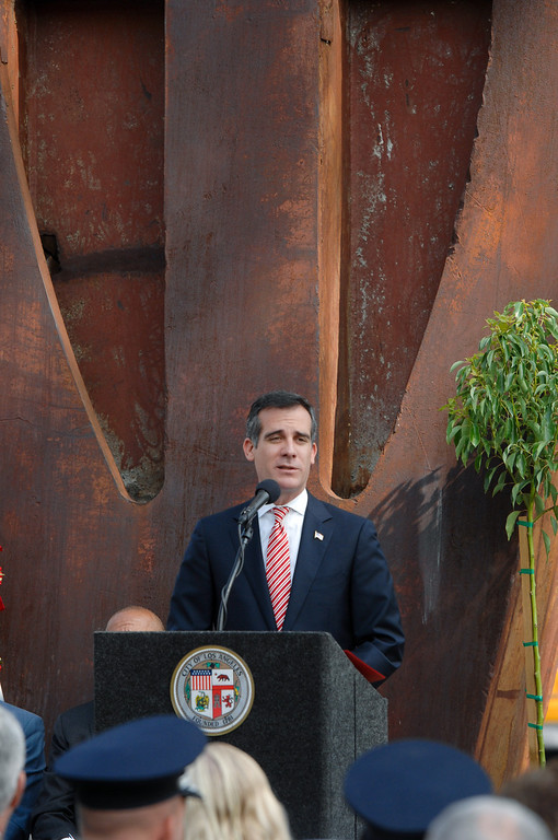 . Mayor Eric Garcetti speaks at the 9/11 Remembrance Ceremony at the World Trade Center Memorial at LAFD Frank Hotchkin Memorial Training Center, Thursday, September 11, 2013. (Photo by Michael Owen Baker/L.A. Daily News)