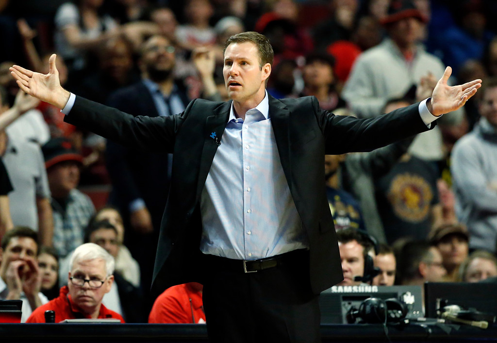 . Chicago Bulls head coach Fred Hoiberg reacts to a call during the second half of an NBA basketball game against the Cleveland Cavaliers, Thursday, March 30, 2017, in Chicago. (AP Photo/Nam Y. Huh)