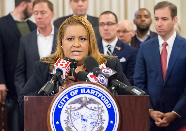 01/10/20 Wesley Bunnell | Staff Hartford City Council President Maly Rosado speaks during a press conference on Friday afternoon. Senator Richard Blumenthal along with Governor Ned Lamont, Hartford Mayor Luke Bronin, Lt. Gov. Susan Bysiewicz, other government officials and community activists mets at Hartford City Hall on Friday afternoon to discuss how to help Puerto Rico after a series of earthquakes recently. The Senator called for fair and affordable prices on airline tickets leaving Puerto Rico which have skyrocketed in price. Others noted the Trump administrations failure to release federal funding already designated for relief efforts two years ago after Hurricane Maria.
