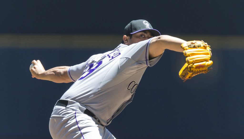 . Jorge De La Rosa #29 of the Colorado Rockies pitches to the Milwaukee Brewers at Miller Park on June 29, 2014 in Milwaukee, Wisconsin.  (Photo by Tom Lynn/Getty Images)