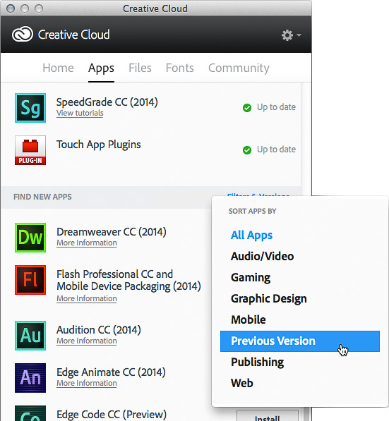 Choosing Previous Version from the Filters & Versions menu in the Creative Cloud desktop application