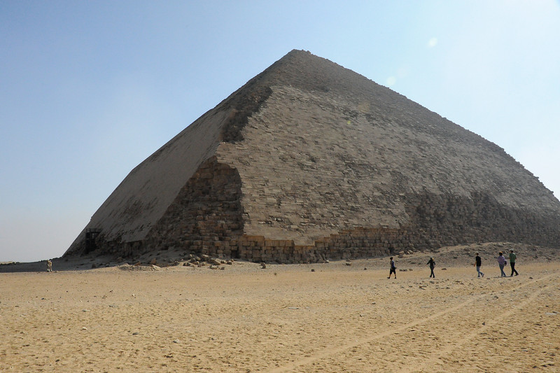 The Bent Pyramid.  Some of the original facing blocks can still be seen, while other blocks have fallen and/or been removed for use elsewhere.