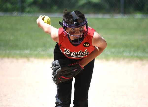 6/16/2018 Mike Orazzi | Staff Freedom's Sierra Messler (14) during the city softball series Saturday in Bristol.