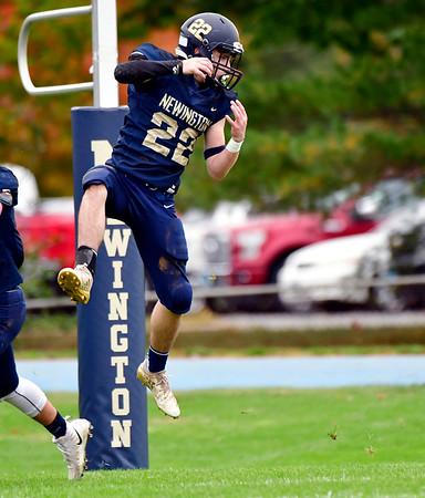 10/12/2019 Mike Orazzi | StaffrNewington High School's Cameron Baker (22) during Saturday's football game with Platt in Newington. r