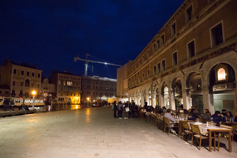 The square where we had dinner was a popular spot for tourists and locals alike.