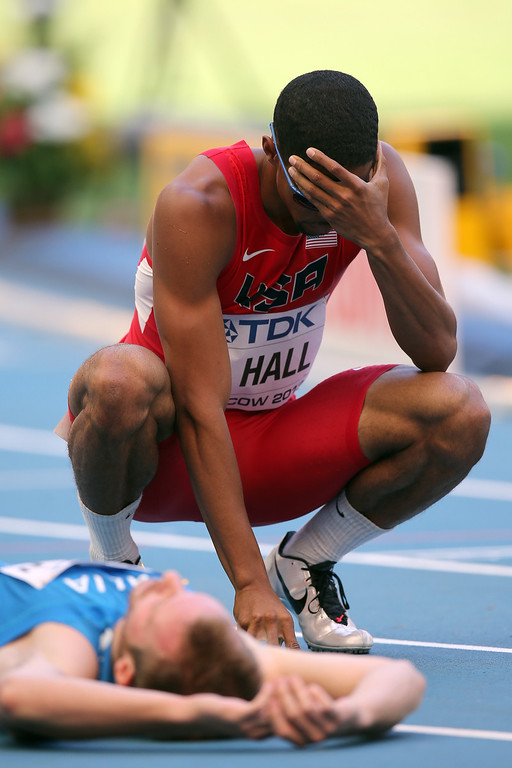 . Arman Hall of the United States reacts in the Men\'s 400 metres heats during Day Two of the 14th IAAF World Athletics Championships Moscow 2013 at Luzhniki Stadium on August 11, 2013 in Moscow, Russia.  (Photo by Ian Walton/Getty Images)