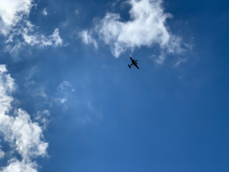 There was a military air show going on at the New Orleans Lakefront Airport (NEW), while we were celebrating at our parish picnic.