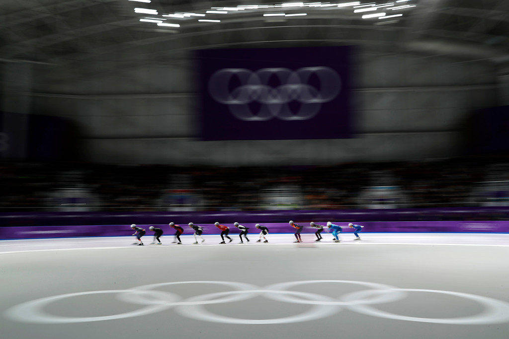 . Athletes compete during the men\'s mass start semifinal speedskating race at the Gangneung Oval at the 2018 Winter Olympics in Gangneung, South Korea, Saturday, Feb. 24, 2018. (AP Photo/John Locher)