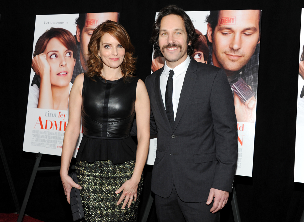 """. Actors Tina Fey and Paul Rudd attend the premiere of \""""Admission\"""" at AMC Loews Lincoln Square on Tuesday March 5, 2013 in New York. (Photo by Evan Agostini/Invision/AP)"""