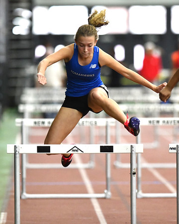 2/1/2020 Mike Orazzi | StaffrGlastonbury's Emma Smith in the girls 55 Meter Hurdles during the CCC Indoor Track & Field Championships at the Floyd Little Athletic Center in New Haven on Saturday.
