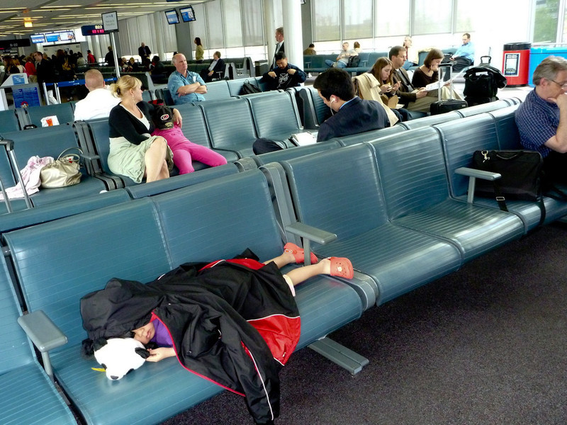She slept some on the plane but crashed in Chicago...tired from becoming a US citizen!