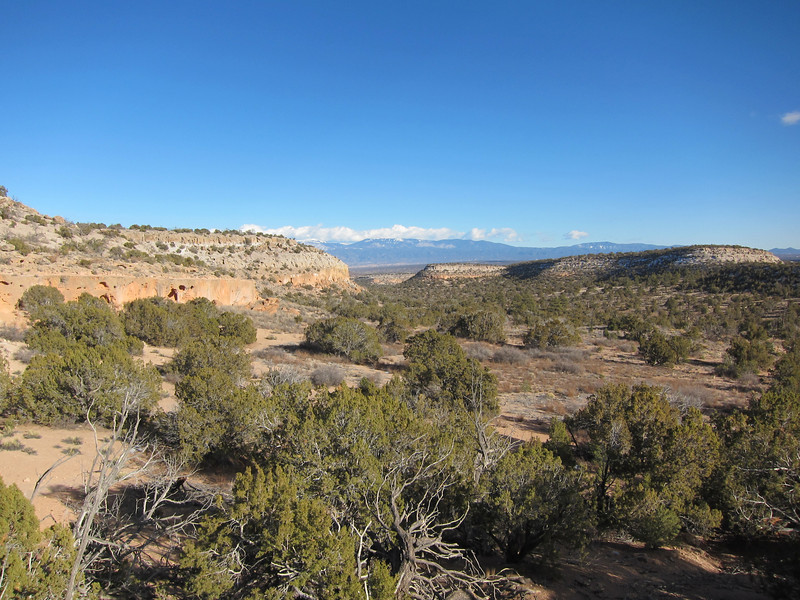View to the East with pueblo ruins to the left and probable agricultural area to the right.