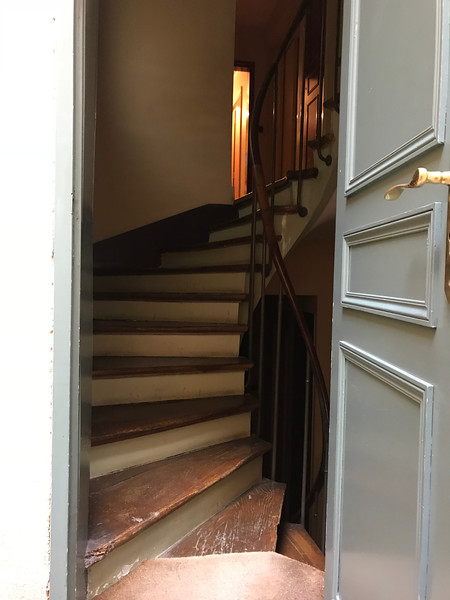 The stairs to Laura's apartment on the 2nd 1/2 floor