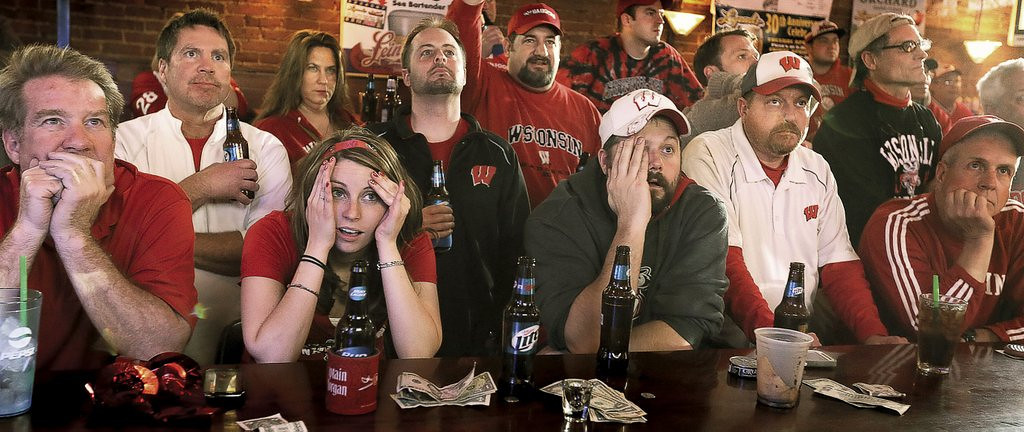 ". <p>4. (tie) WISCONSIN <p>It could have been worse: You could have spent thousands to travel to the Final Four to watch your dreams crushed. (4) <p><b><a href=\'http://www.twincities.com/news/ci_25505548/wisconsin-falls-short-loses-74-73-kentucky?source=rss\' target=""_blank\""> HUH?</a></b> <p>    (AP Photo/The Janesville Gazette, Bill Olmsted)"
