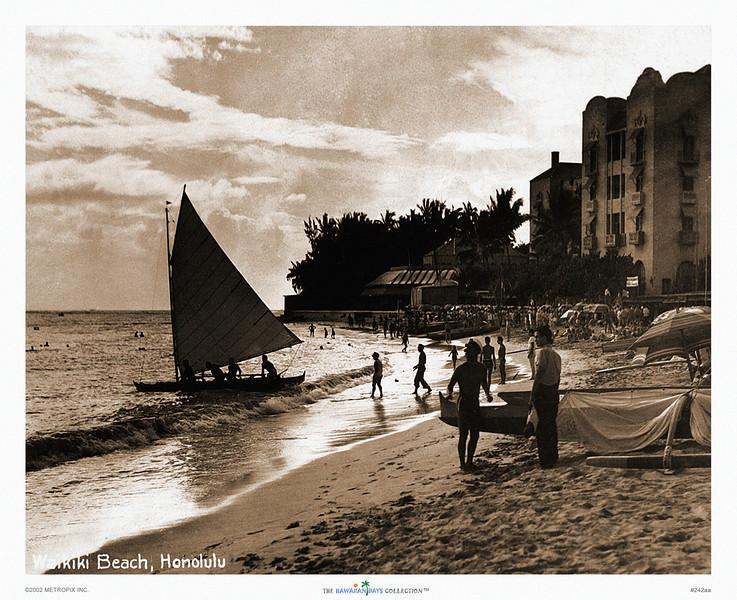 242: Waikiki Beach, Honolulu Postcard, ca 1941.