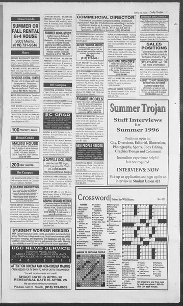 Daily Trojan, Vol. 127, No. 63, April 22, 1996