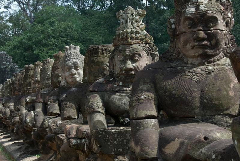 Statues along Angkor Thom Bridge in Cambodia