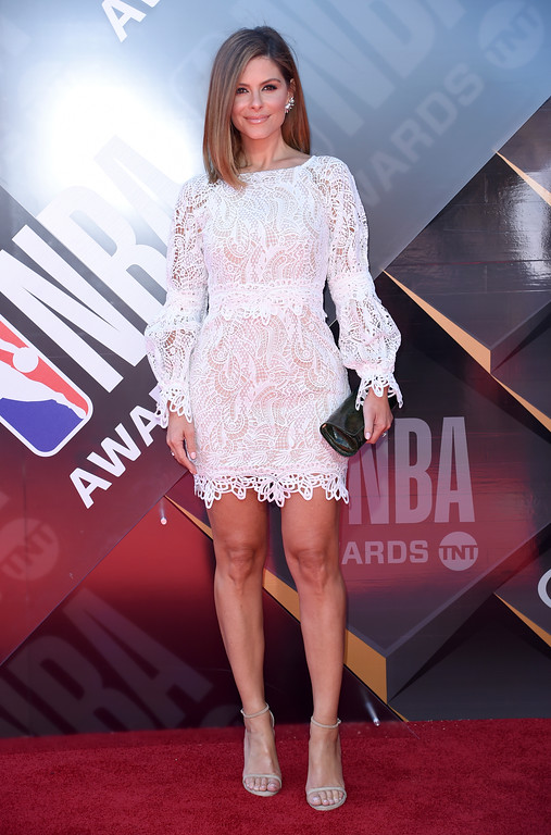 . Maria Menounos arrives at the NBA Awards on Monday, June 25, 2018, at the Barker Hangar in Santa Monica, Calif. (Photo by Richard Shotwell/Invision/AP)