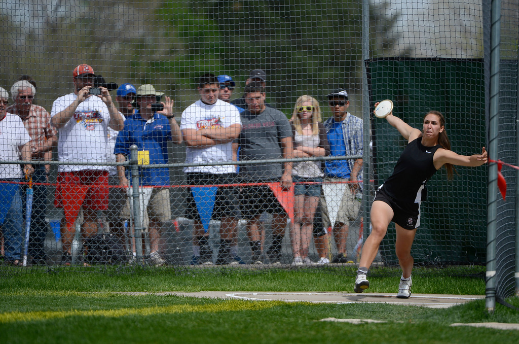 """. Valerie Allman of Silver Creek High School, competes during the girls 4A discus throw at the Colorado State Track and Field Championships at Jeffco Stadium, Saturday morning, May 18, 2013. Allman\'s longest throw was 167\' 3\"""", a meet record.  (AP Photo/The Denver Post, Andy Cross)"""
