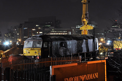 47500 being re-railed at Ordsall Lane Curve. 24/01/13.