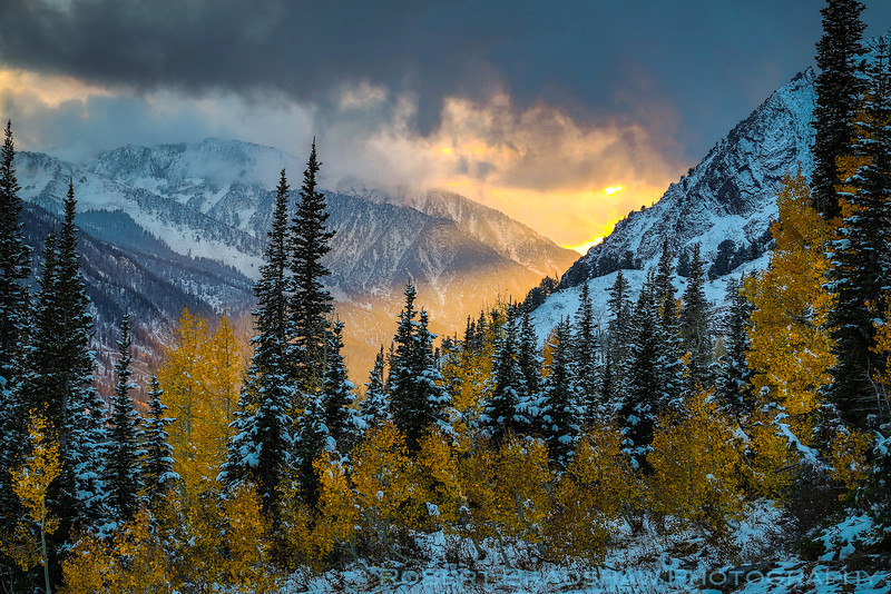 Stormy sunset in Little Cottonwood Canyon