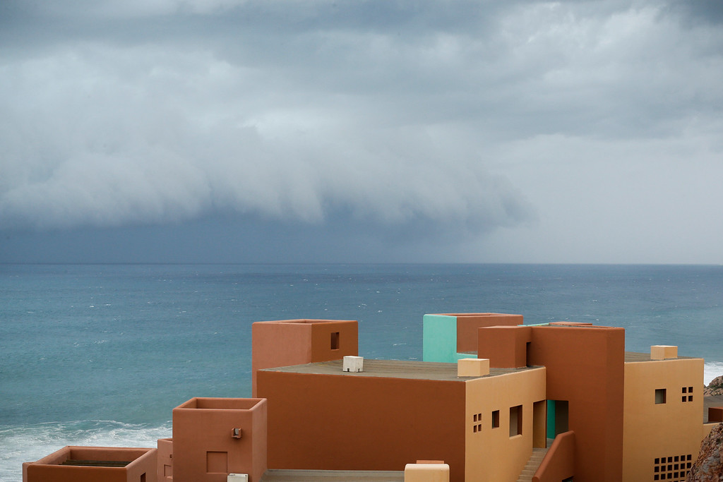 . Hurricane Odile approaches Los Cabos, Mexico, Sunday, Sept. 14, 2014. Hurricane Odile turned into a Category 4 hurricane and it\'s expected to make a close brush with the southern portion of Mexico\'s Baja California peninsula Sunday evening. (AP Photo/Victor R. Caivano)