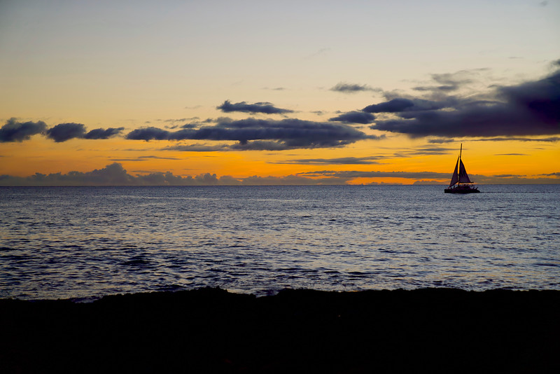 Sailboat at Sunset in Hawaii
