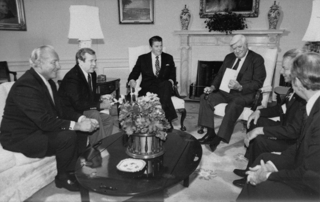 . President Ronald Reagan meets Thursday, September 17, 1981, at the White House with Congressional leaders.  From left are:  House Minority Leader Robert Michel of IL; Senate Majority Leader Howard Baker of TN; Reagan; Speaker of the House Thomas P. O\'Neill of MA; Senate Minority Leader Robert Byrd of WV; and House Majority Leader Jim Wright of TX. (AP Photo/stf)