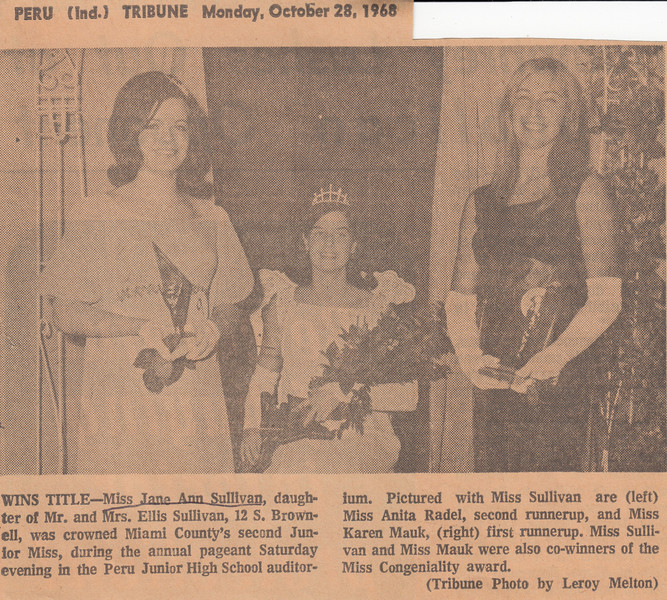 Newspaper Clipping - Miss Jane Sullivan Crowned Junior Miss - October 1968 (photo).jpg