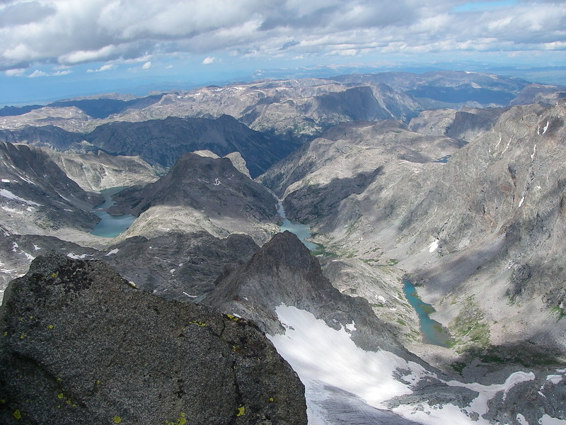 The view from the summit ridge: beautiful lakes to the north.