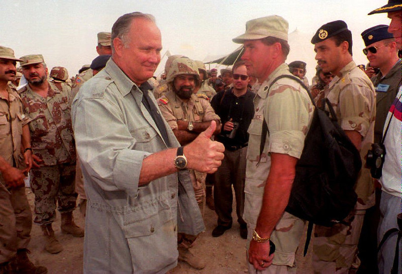 ". US General Norman Schwarzkopf, the great figure of the 1991 Gulf War, gives the thumbs up in Kwait 17 April 1994 during the last day of joint Kuwaiti-American-British manoeuvres ""Native fury\"". Schwarzkopf was invited to observe the exercises, the biggest in the emirate since the Gulf War.  (QUTANIA/AFP/Getty Images)"