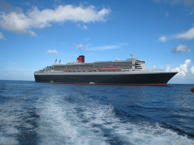 A shot the QM2 from the tender