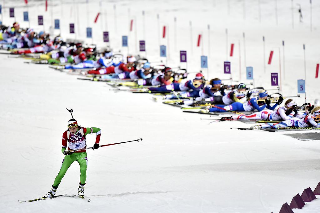 . Darya Domracheva of Belarus wins gold medal during the Biathlon Women\'s 12.5km Mass Start at the Laura Cross-country Ski & Biathlon Center on February 17, 2014 in Sochi, Russia. (Photo by Vianney Thibaut/Agence Zoom/Getty Images)