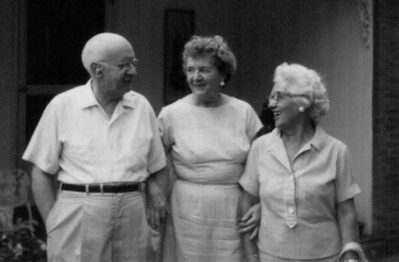 Frank Kapp, second husband of Gladys Hill Johnson Kapp, center, with  her sister-in-law Frances McNamee Hill.