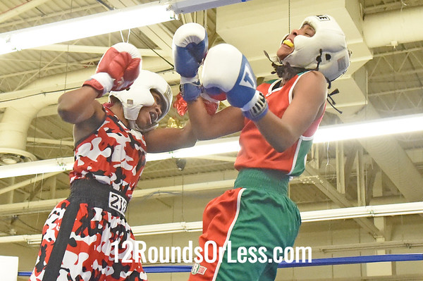 Bout 10 = Female Bout = Tomika Wanton, Red Gloves -vs- Kayla Savage, Blue Gloves, 2 Min. Rds.