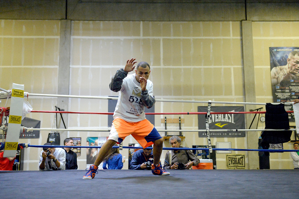 ". DENVER, CO - OCTOBER 15: Colorado\'s only reigning Champion ""Mile High\"" Mike Alvarado held a media workout day at Delgado\'s Gym October 15, 2013 as he gets ready for his fight with the Russian Provodnikov at 1st Bank Center. (Photo by John Leyba/The Denver Post)"