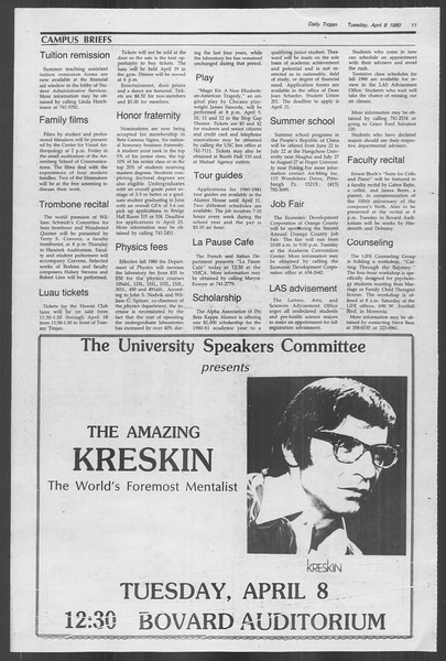 Daily Trojan, Vol. 88, No. 39, April 08, 1980