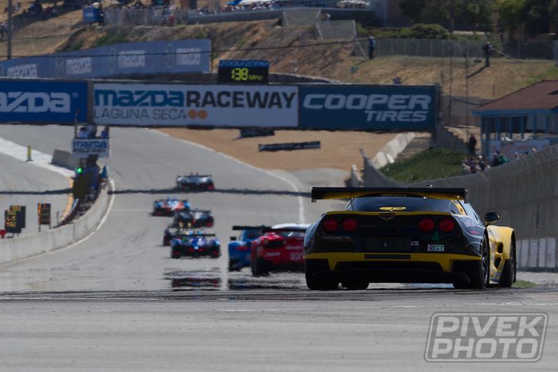 Team Falken Tire Porsche led early (here leading 23-AJR Ferrari and 4-Corvette)