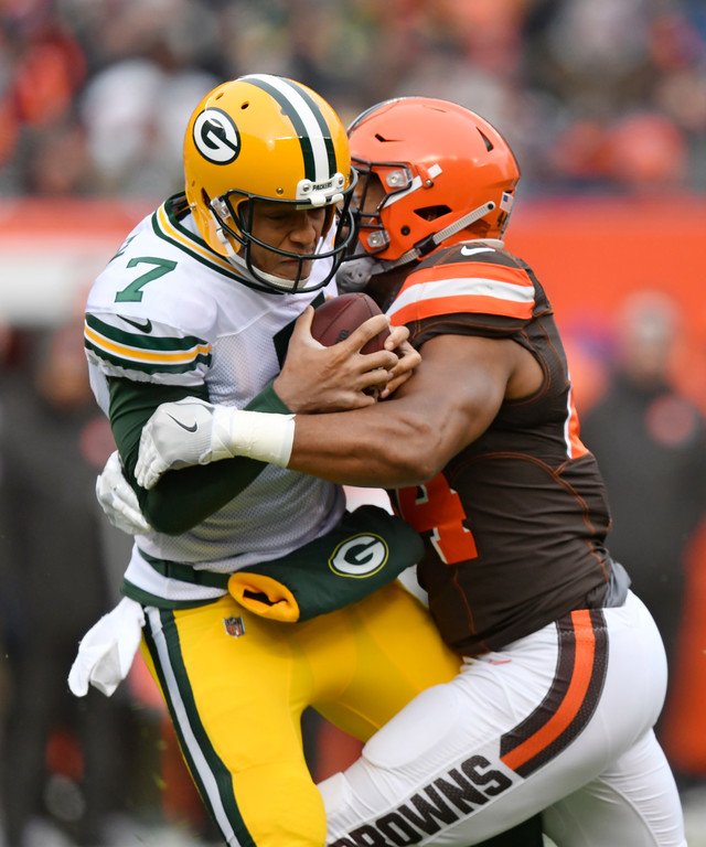 . Cleveland Browns defensive end Nate Orchard (44) sacks Green Bay Packers quarterback Brett Hundley (7) in the first half of an NFL football game, Sunday, Dec. 10, 2017, in Cleveland. (AP Photo/David Richard)
