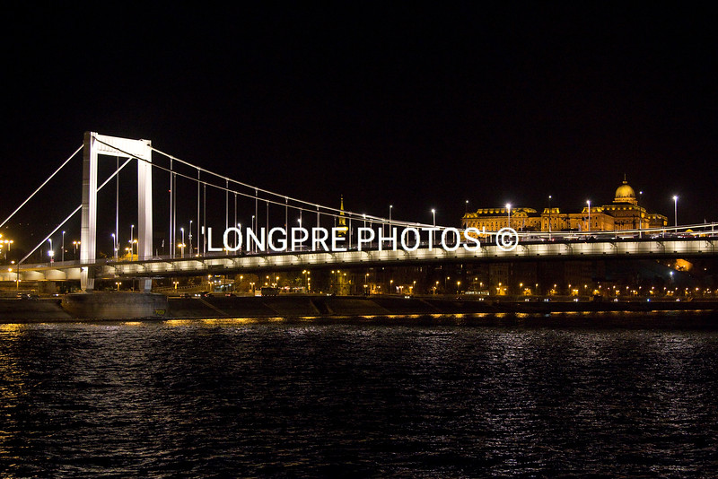 One of 9 bridges over the Danube River in Budapest.