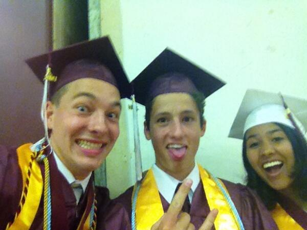 . Max Kneis takes a sefie at graduation.