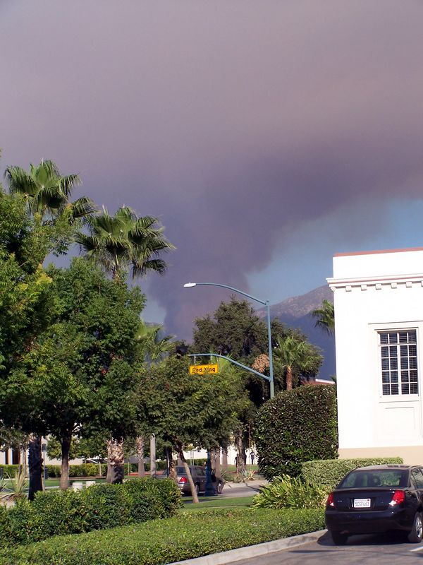 Smoke over campus.  (It looks really close, but it's not.)