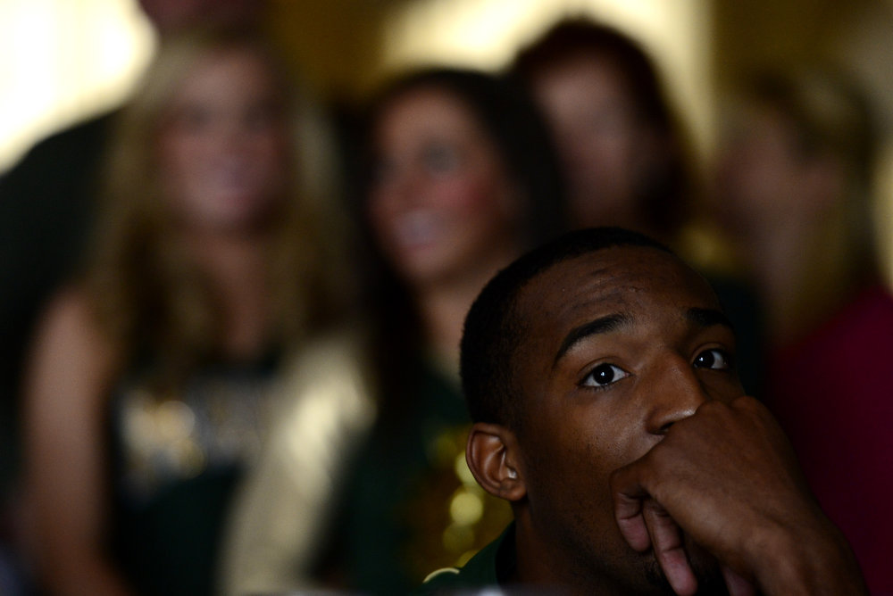 . CSU senior Greg Smith reacts to the Rams\' seeding during the NCAA tournament selection show. The Rams earned an eight seed and will play ninth-seeded Missouri in the second round. (Photo by AAron Ontiveroz/The Denver Post)
