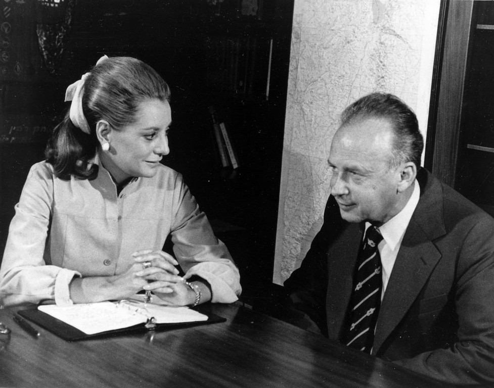 . Israeli Prime Minister Yitzhak Rabin is interviewed by American television newswoman Barbara Walters, in October 1974.  (AP Photo)