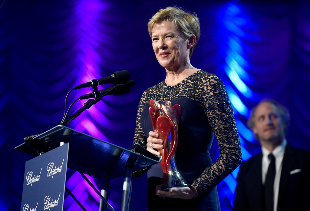". Annette Bening accepts the Career Achievement award for ""20th Century Women\"" at the 28th annual Palm Springs International Film Festival Awards Gala on Monday, Jan. 2, 2017, in Palm Springs, Calif. (Photo by Chris Pizzello/Invision/AP)"