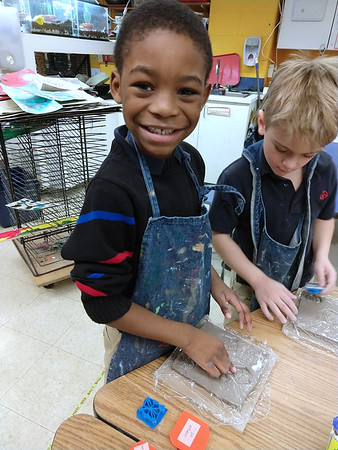 2nd Grade and 1-2F - Clay Tiles and 3D-printed Stamps