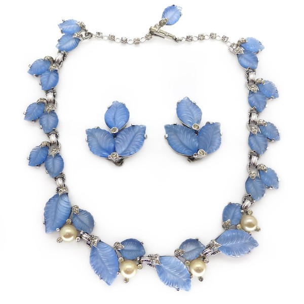 VINTAGE 1960S JOMAZ BLUE GLASS LEAF NECKLACE & EARRINGS SET