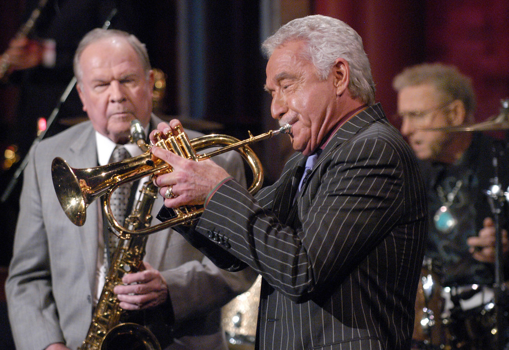 ". In this photo provided by CBS, former Tonight Show Band leader and members Doc Severinsen ,center, Tommy Newsome, left,  and drummer Ed Shaughnessy, right,  play Johnny Carson\'s favorite ballad ""Here\'s that Rainy Day\"" during a tribute to Carson taping of the Late Show with David Letterman, New York, Monday Jan. 31, 2005.  (AP Photo/ CBS, JP Filo,HO)"