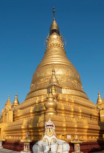 Golden stupa of Soon U Ponya Shin Pagoda, Nga-pha Hill, Sagaing near Mandalay, Burma (Myanmar)